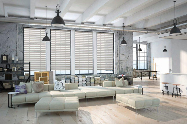 bright modern loft style living room with white furniture blinds and shades