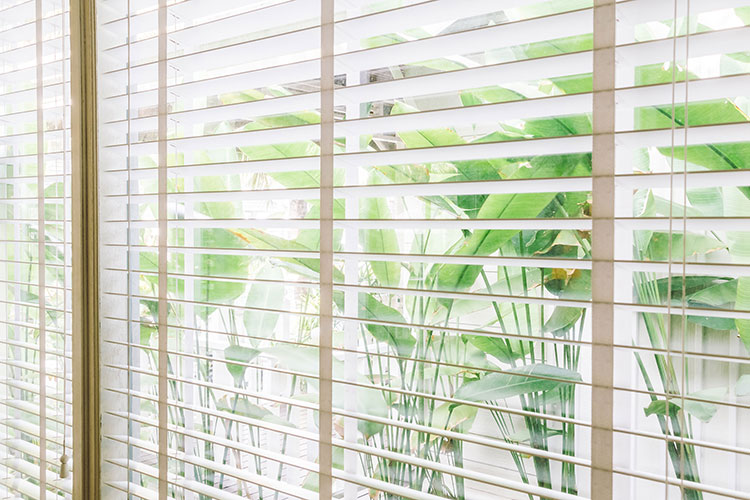 horizontal brown wood blinds overlooking garden during daytime