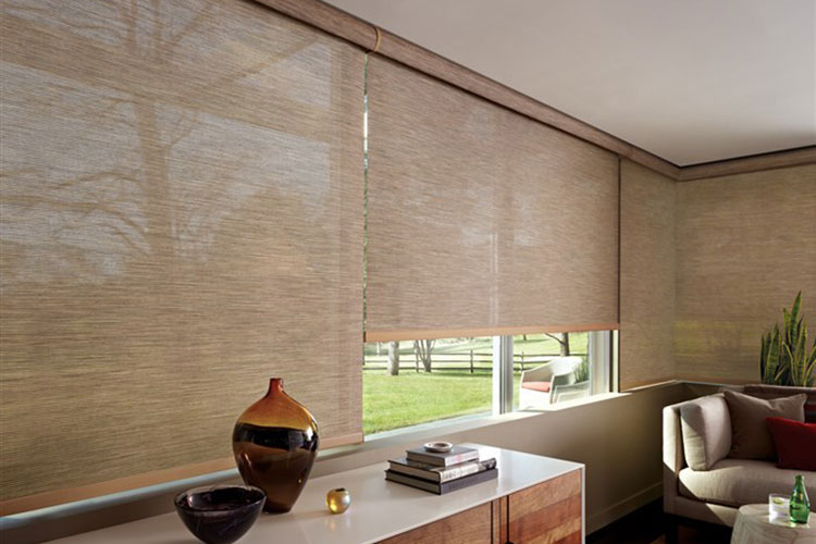 A bright modern room with brown colour tone and blinds and shade