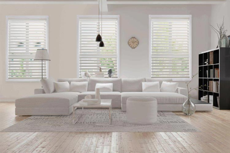 bright modern interior living room with white furniture and horizontal blinds