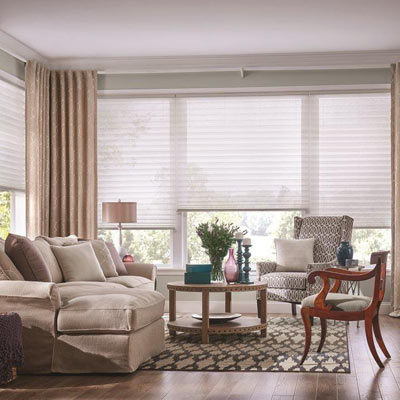 bright modern living room with brown furniture blinds and shades