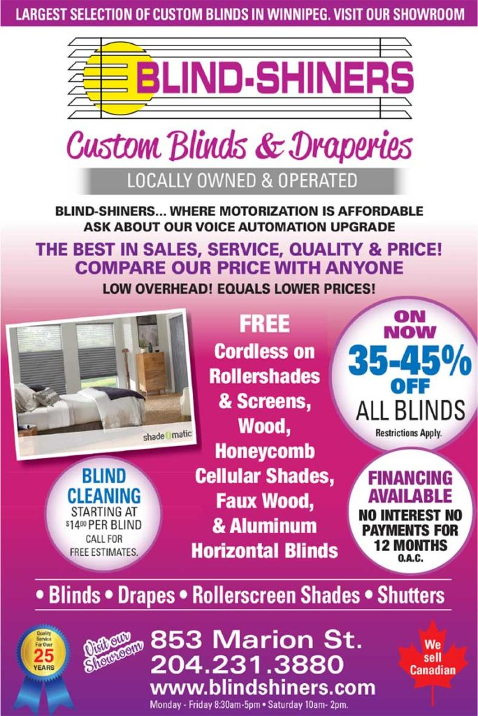 flyer poster for a sale on custom blinds and draperies at Blind Shiners in Winnipeg
